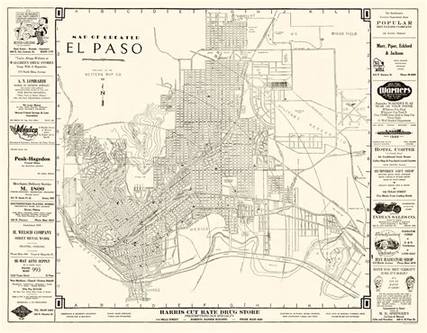 map of el paso county texas historic city maps el paso texas tx by western map co 1938