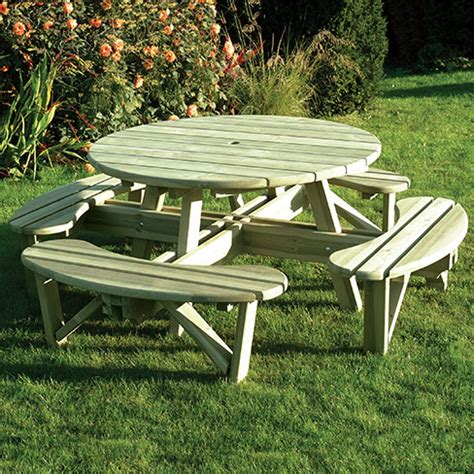 round garden bench table round picnic table gt garden furniture tate fencing
