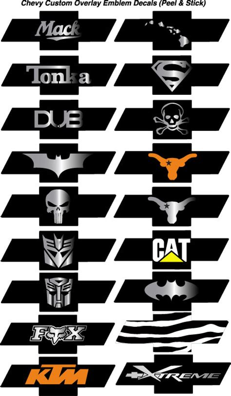 chevy bowtie emblem overlay decals sticker wraps bowtie
