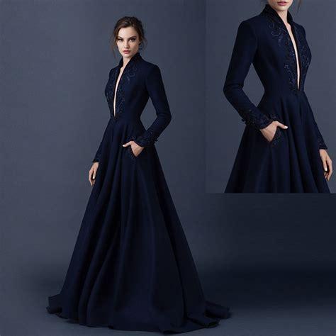 desain long dress elegan aliexpress com buy glamorous black deep v neck long