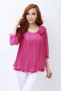 pink color chiffon top 2014