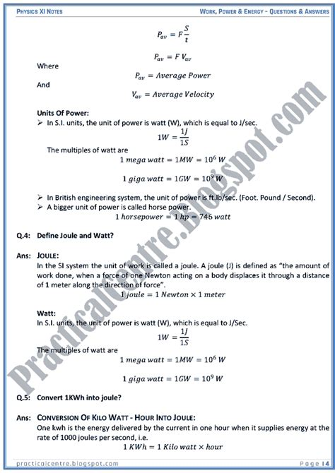 work and energy section quiz power practical centre work power energy questions