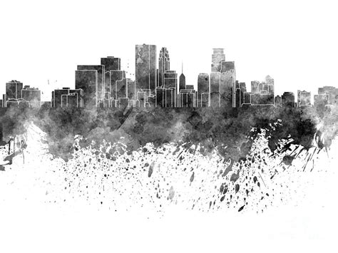 Cityscape Curtains Minneapolis Skyline In Black Watercolor On White