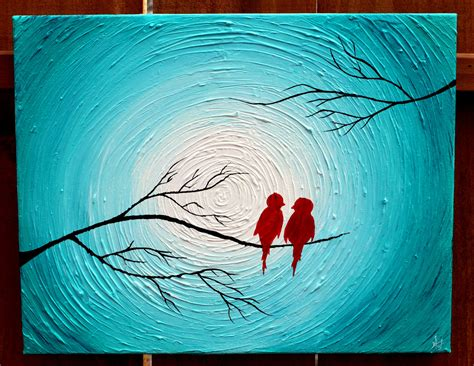 acrylic painting on canvas birds birds on a tree limb in the winter turquoise