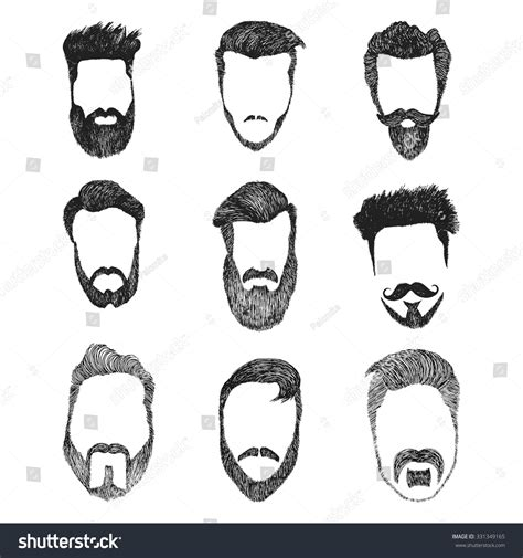 Hair Style Kit Name by Different Faces Style Stock Vector