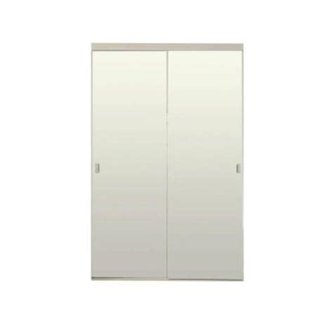 Mirror Closet Doors Home Depot 48 In X 80 In White Mirror With Back Painted Anodized Steel Glass Interior Sliding