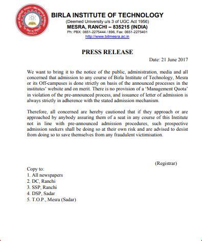 Bit Mesra Mba Admission 2018 by Bit Mesra Important Press Release Regarding Admission