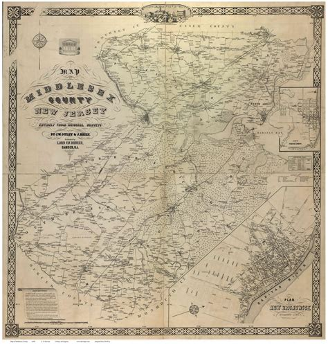 middlesex classic reprint books middlesex county new jersey 1850 wall map reprint with