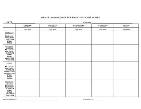 Blank Daycare Menu Template by Daycare Menu Template Cactusdesigners