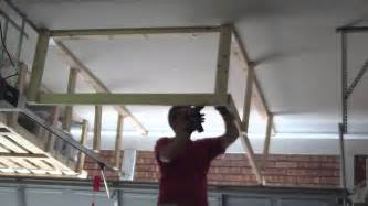 Wood Shelf Bracket Plans Free by Garage Overhead Storage Timelapse Youtube