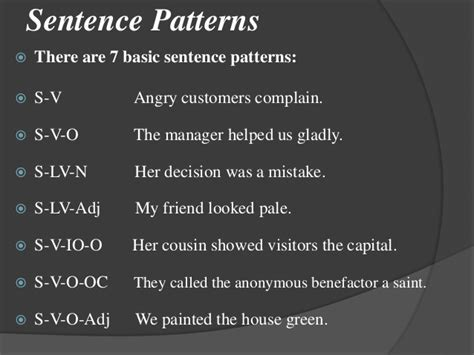 7 pattern of sentences testing and evaluation