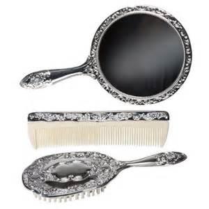 Vanity Set Brush Mirror Baby Hairbrush 3 Pc Silver Chrome Vanity Set Comb