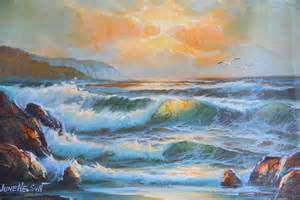 sale vintage seascape ocean painting 12x16 signed june
