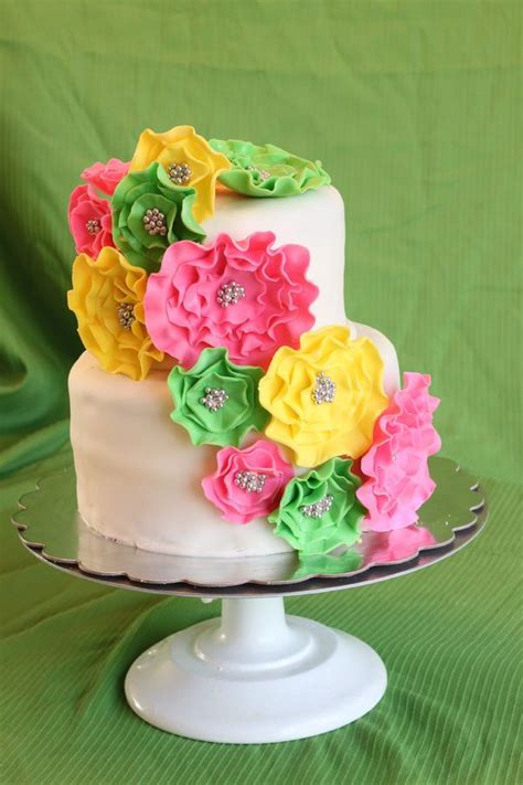 Pink And Yellow Baby Shower Cake by Pink Green And Yellow Baby Shower Cake Sweet Temptations Cakes C