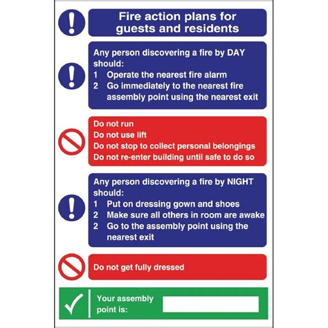 fire action plan sign for guests residents ebay
