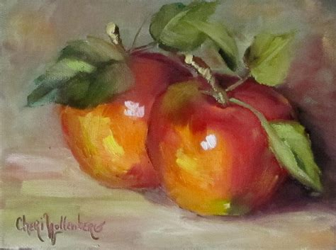 acrylic painting apple painting of delicious apples painting by cheri wollenberg
