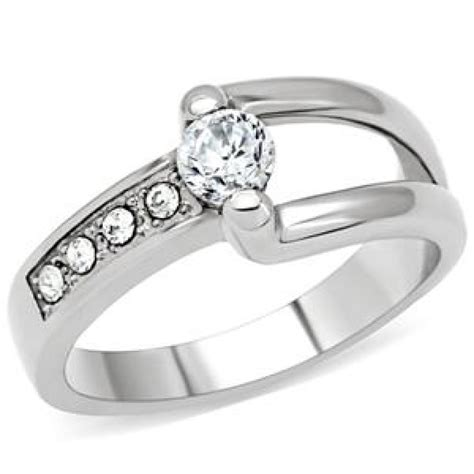cj145tk wholesale stainless steel clear cubic zirconia ring