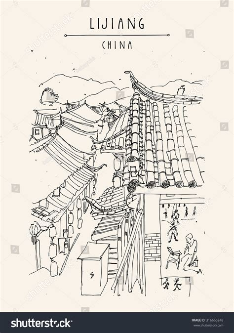 chinese house coloring page traditional chinese houses lijiang yunnan china stock