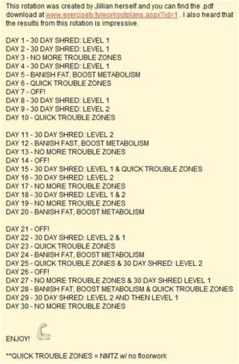 health and fitness jillian 30 day workout