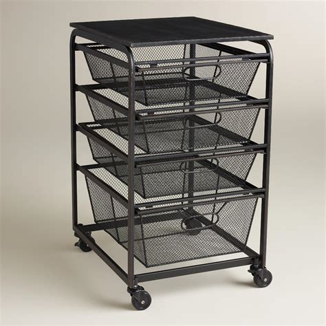 Wire Rolling Cart With Drawers Espresso Wire 4 Drawer Fiona Rolling Cart World Market