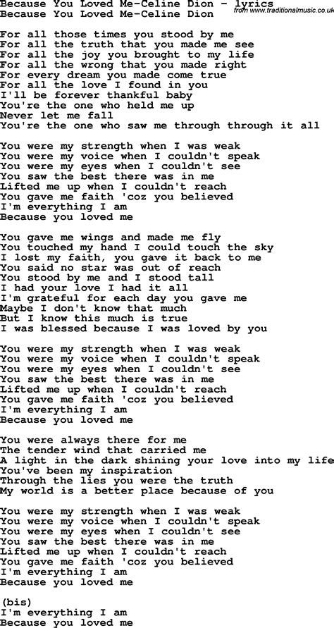 song by song lyrics for because you loved me dion