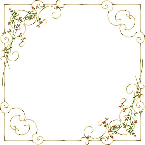 frame pattern decor gold frame with delicate wild flowers рамочки