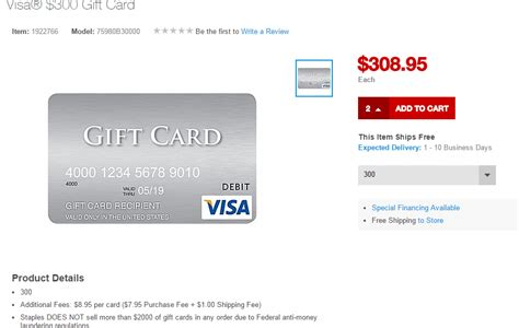 Cost Of Visa Gift Card - staples now selling 300 visa gift cards online with 8 95 in fees doctor of credit