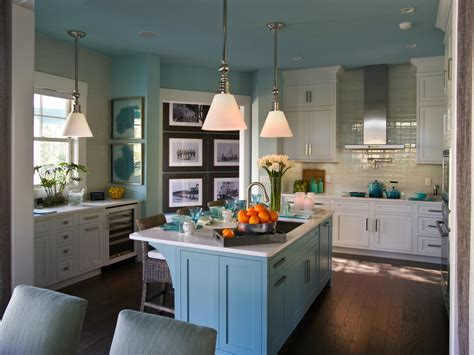 blue kitchen white cabinets photo page hgtv