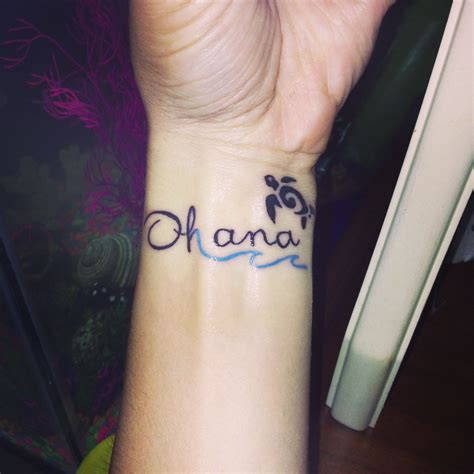 cute tribal tattoo ohana plus a blue wave and a tribal turtle