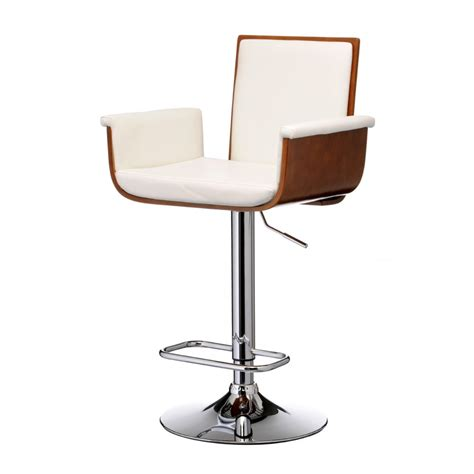 Where To Get Bar Stools Buy Walnut Wood And White Faux Leather Bar Stool
