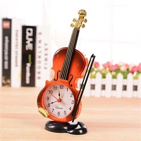 Jam Meja Analog Besi Model Vintage jam alarm analog model biola unik cocok untuk hiasan dekorasi meja harga jual