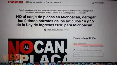 lugares para el canje de placas michoacan 2016 ya suman m 225 s de 24 341 firmas a favor del no canje de