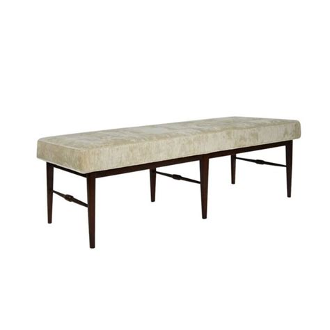 spindle bench mid century spindle bench in ivory chenille for sale at