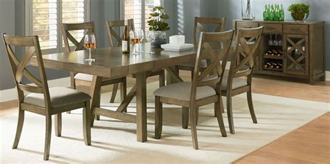 omaha weathered burnished gray extendable trestle dining