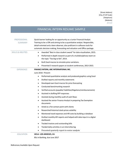 finance internship resume resume sle internship sle of apa format essay