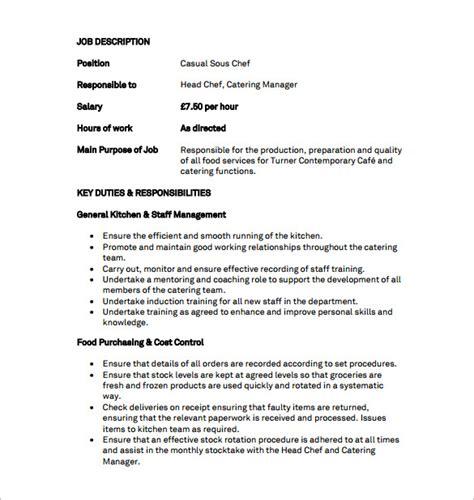 job responsibilities for resume chef job scription job title chef