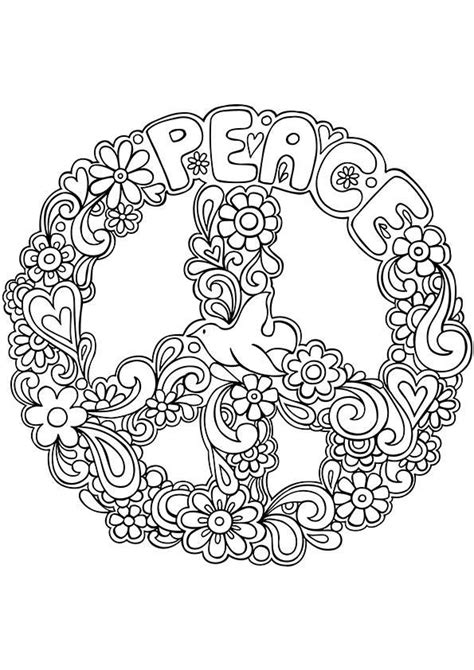 peaceful patterns coloring pages simple and attractive free printable peace sign coloring