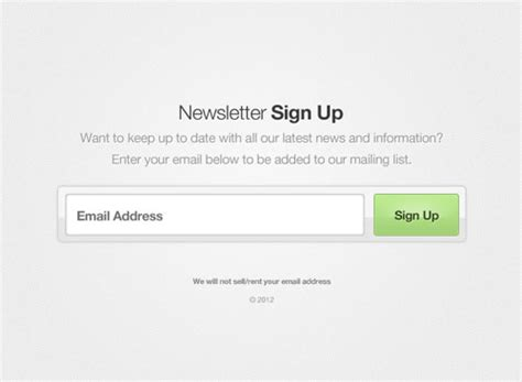 20 Free Newsletter Subscription Form Templates Psd Sign Up For Our Newsletter Template
