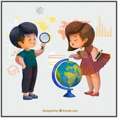 imagenes de niños jugando y estudiando ni 241 os de acuarela estudiando geograf 237 a descargar