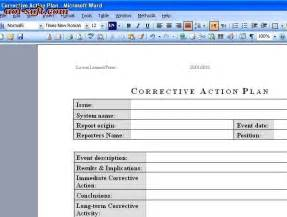 corrective action plan screenshot business project