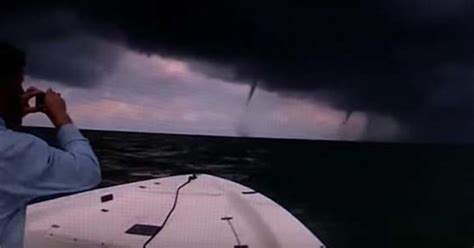 boat driving through water spout this guy decided to drive his boat directly into a