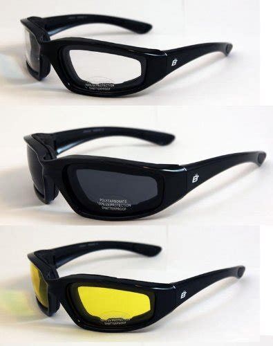 most comfortable glasses 3 pair padded motorcycle riding glasses clear smoked and