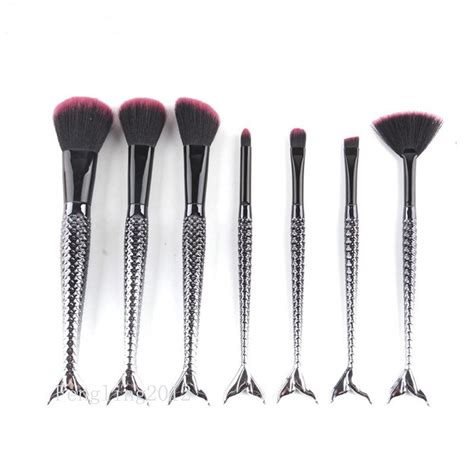 7pcs Make Up Brushes Set Powder 7pcs mermaid makeup brush set black silver foundation