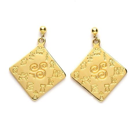 impressions of ireland large yellow gold earrings