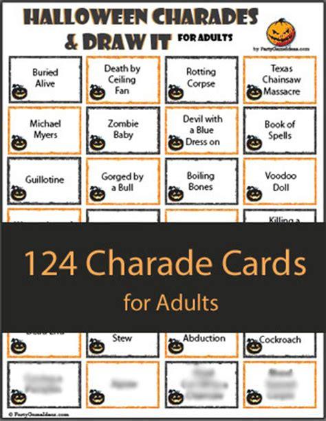 halloween charades free printable halloween game the 124 halloween charades for adults printable charades game