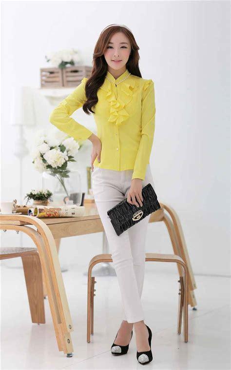 Blouse Wanita Import Yellow A31185 gambar kemeja cewek terbaru apexwallpapers