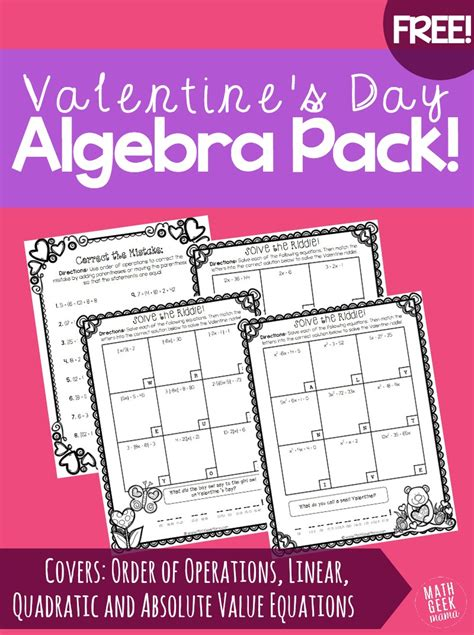 riddles for valentines day s day algebra practice pack free