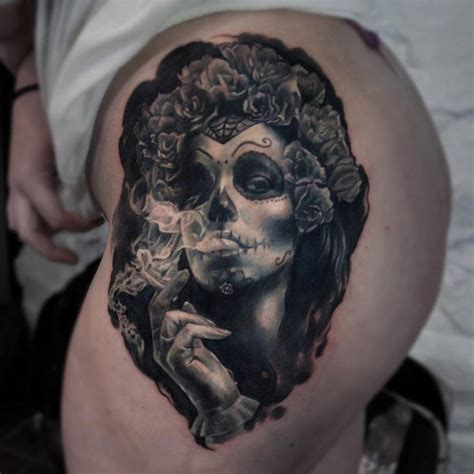 realistic la calavera catrina tattoo on the left side