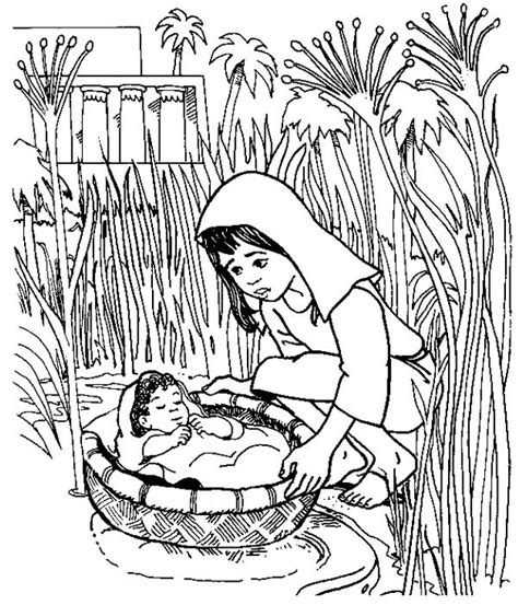 baby moses coloring page baby moses floated on the river coloring pages