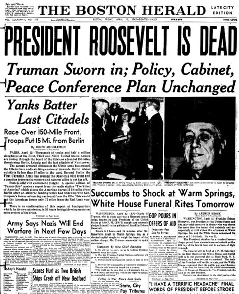 Who Was The President To Die In Office by 69th Anniversary President Franklin D Roosevelt Died In